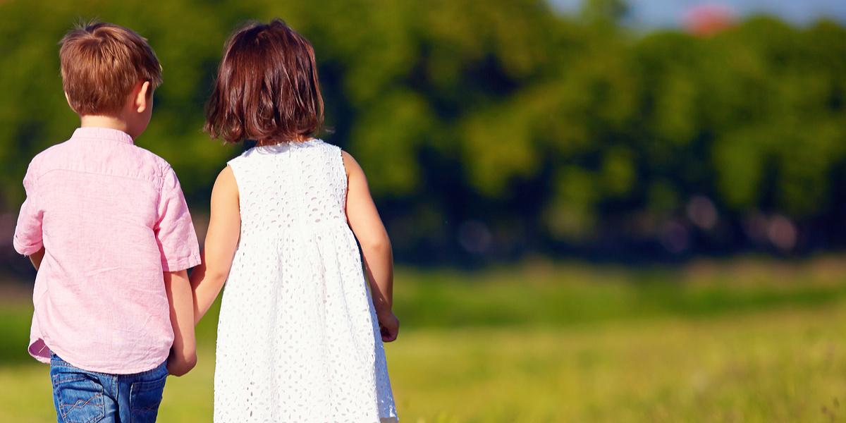 Two Kids Walking Away